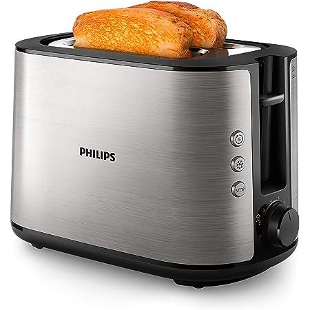 Philips HD2650/90 Grille-pain en acier inoxydable (950 W, 8 niveaux de brunissage, grille réchauffe-viennoiseries, fonction décongélation et réchauffage, bouton d'arrêt, fonction lift)