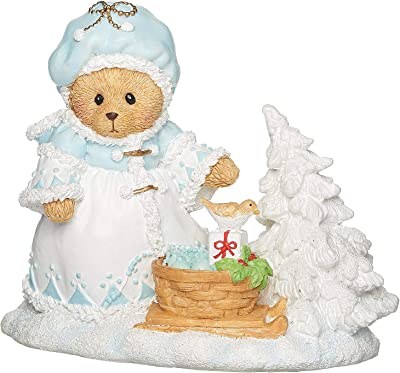 """Roman - Teddie with Basket Figure, Ashley, Cherished Teddies Collection, 4.25"""" H Resin and Wollastonite, Christmas Collection, Home Dcor, Adorable Gift, Durable, Beautifully Detailed"""