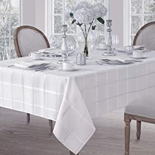 Elegance Plaid Contemporary Woven Solid Decorative Tablecloth by Newbridge, Polyester, No Iron, Soil Resistant Holiday Tablecloth, 60 X 84 Oblong, White