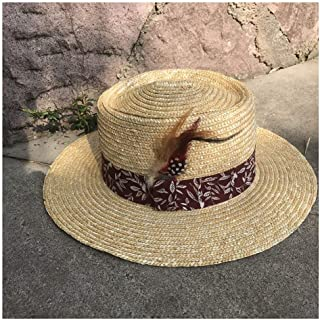 Sun Hat for men and women Classic Hat Sun Hat Straw Summer Men's Straw Hat Panama Wide Cloth Decorative Feather Ladies Sun Hat