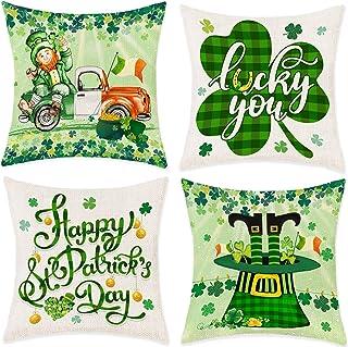 Bonsai Tree St Patricks Day Pillow Covers 18x18, Happy St Patrick's Day Couch Throw Pillow Covers, Leprechaun Irish Green ...