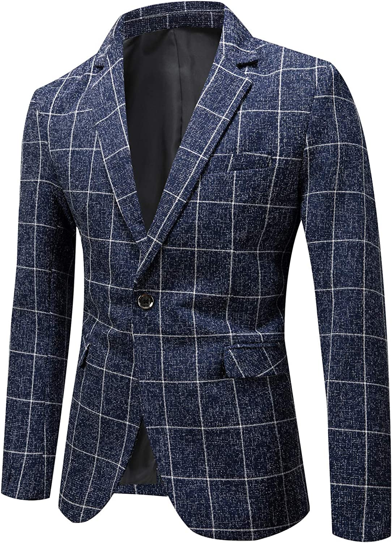 Men's Slim Fit Blazer Jacket Casual One Button Sport Coat
