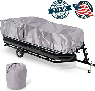"Universal Boat Adjustable Storage Cover - 25'-28'L to 96"" Pontoon Boats Protection Custom Heavy Duty Waterproof Mildew Weather Resistant Polyester Fabric,  Snap Strap,  Elastic Cord,  Bag - Pyle PCVHP442"