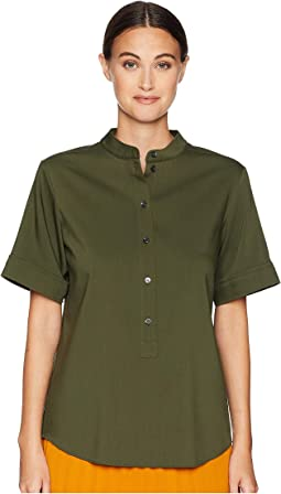Short Sleeve Shirt w/ Korean Neckline