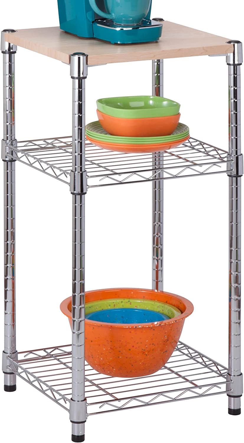 Honey-Can-Do SHF-04345 3 Tier Steel Shelving Unit with Wood Top, Chrome, 14 x 15 x 30