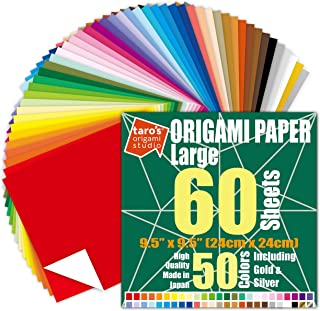[Large 9.5 inch Made in Japan] Taro's Origami Studio Premium Japanese Origami Paper (9.5 inch, 60 Sheets, Single Side 50 C...