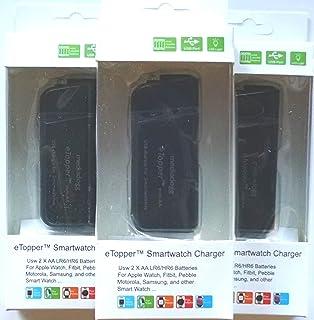 智能手表充电器 - 便携 2 x AA USB 充电器内置灯(3 件装) 黑色