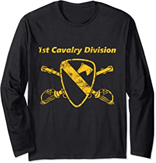 First Team-Distress Yellow - 1st Cav Div Long Sleeve T-shirt