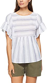 French Connection Women's Tiered Stripe Shirt, Summer White/Nocturn