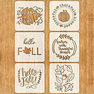 6 PCS Fall Stencils for Painting on Wood 12 Inches Reusable Floor Tile Stencil for Thanksgiving Decor Fabric Canvas Wall Painting Templates