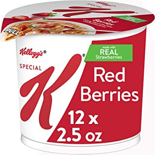 Kellogg's Special K Red Berries Cereal in a Cup - Portable Breakfast, Bulk Size (Pack of 12, 2.5 oz Cups)
