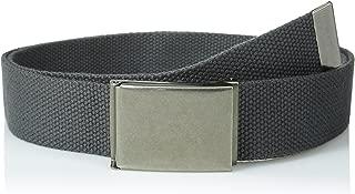 Canvas Web Belt Flip-Top Antique Silver Buckle/Tip Solid Color 50