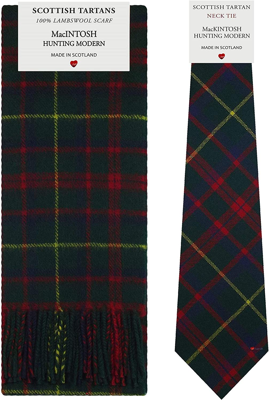 MacIntosh Hunting Modern Tartan Plaid 100% Lambswool Scarf & Tie Gift Set