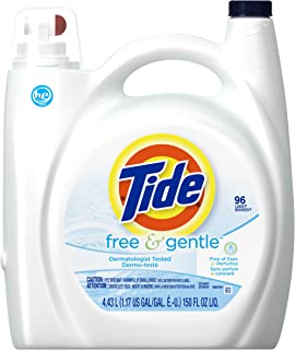 Tide Liquid Laundry Detergent, Free & Gentle, HE, 150 Ounce, 96 Loads
