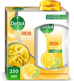 Dettol Fresh Anti-Bacterial Body Wash With Puff 250ml
