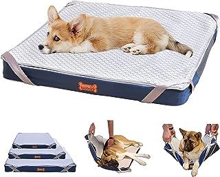 LOOBANI- ペットベッド ペット用 防水 床ずれ予防ベッド 4Dエアファイバー 高反発ウレタン使用 子犬 老犬 介護用グッズ 足腰の弱いペットに最適 滑り止め 取り外し可能で洗えるジッパーカバーとスマートなデザイン 交換可能な毛布 通年使える