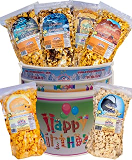 Popcorn by Colorado Kernels Popcorn Delights | 3.5 Gal HAPPY BIRTHDAY Bucket with 6 lg resealable bags | Kettle Corn, Cheddar Cheese, Caramel, Chocolate, Almonds/Pecans, Buffalo Ranch