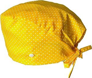 Cappello Scrub Turbante Cappello Bouffant Stampato, Cuffia con bottoni, Baretto medico con bottoni, Cotone 100%, giallo, f...