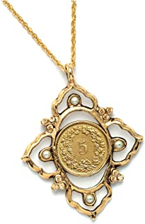 Victorian Inspired Swiss Coin Pendant