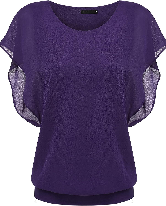 Zeagoo Women's Chiffon Loose Lace Batwing Short Flutter Sleeve Blouse Tops