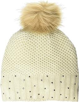 Rhinestone Rib Pom Hat