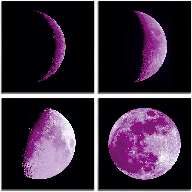 Store aburaeart Purple Moon Wall-Decor - Wall Ab Art Women for Bedroom 4 years warranty