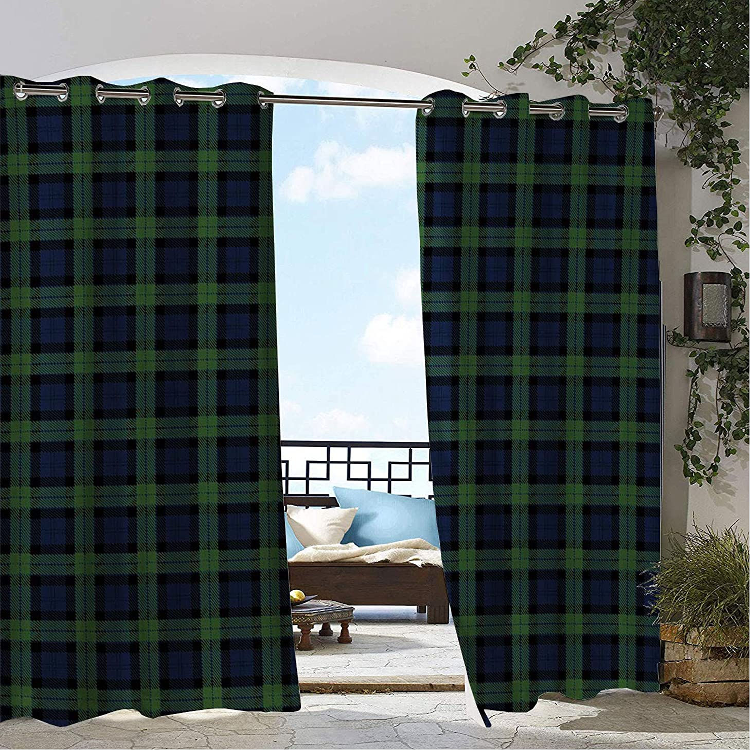 Linhomedecor Gazebo Waterproof Curtains Green Scottish Lattice Multicolor pergola Grommet Bathroom Curtain 72 by 72 inch