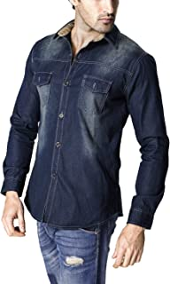 LANBAOSI Men's Long Sleeve Snap Front Pocket Denim Work Shirts