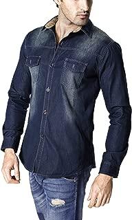Lanbaosi Men's Long Sleeve T-Shirt Button Down Snap Front Pocket Denim Work Shirts