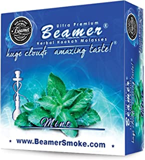 Mint Beamer Herbal Hookah Shisha Molasses 50g. Huge Clouds, Amazing Taste! Tobacco Free, Nicotine Free. Better Taste & Clouds Than Tobacco. Made in USA! Use with Hookah Nargila, Charcoal