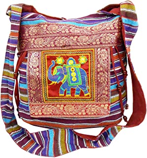 Crafts of India Handmade Embroidered Shoulder Bag Elephant Sling Cross Body Boho Bohemian Hippie Tote Gypsy Beach Bag