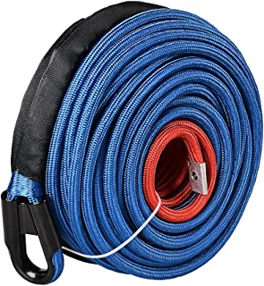 Astra Depot Blue 95ft x 3/8 Inch 22000LBS Synthetic Winch Line Cable Rope with Heat Guard Protective Sleeve All Rock Guard for Jeep ATV UTV 4X4 Off-Road Truck
