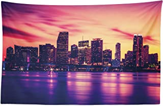 Lunarable United States Tapestry, View of Miami at Sunset Building Urban Modern City Life Ocean Skyline, Fabric Wall Hanging Decor for Bedroom Living Room Dorm, 45