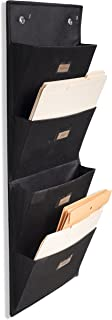 Wallniture Archivo Hanging File Folder Holder - Document Organizer with Label Tabs 4-Sectional Canvas Black (1)