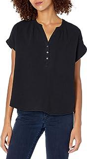 Lucky Brand womens Short Sleeve Open Neck Shirt Blouse