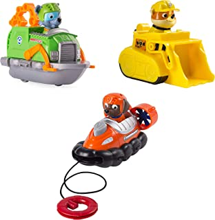 PAW PATROL Racers 3-Pack Vehicle Set, Rescue Rubble Bulldozer, Rocky Recycling Boat, and Zuma Hovercraft with Life Ring Launcher