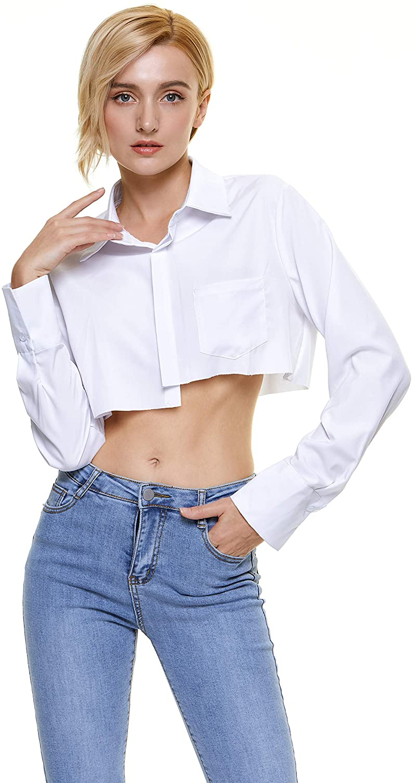Lumca Women's Midriff Blouse Button-Down Long Sleeves Short Crop Top Shirt Cotton Size Run Small