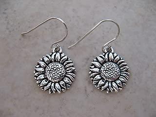 Sunflower Charm on Sterling Silver Earrings