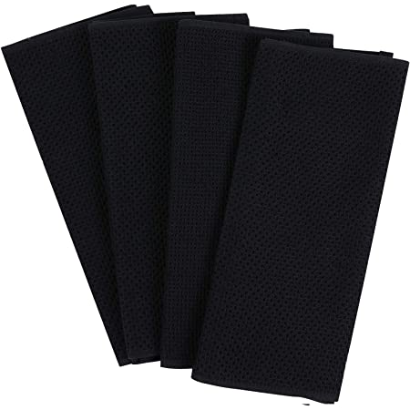 15 x 26 Set of 4 Ultra Absorbent Heavy Duty DII Cotton Waffle Terry Dish Towels Drying /& Cleaning Kitchen Towels-Black