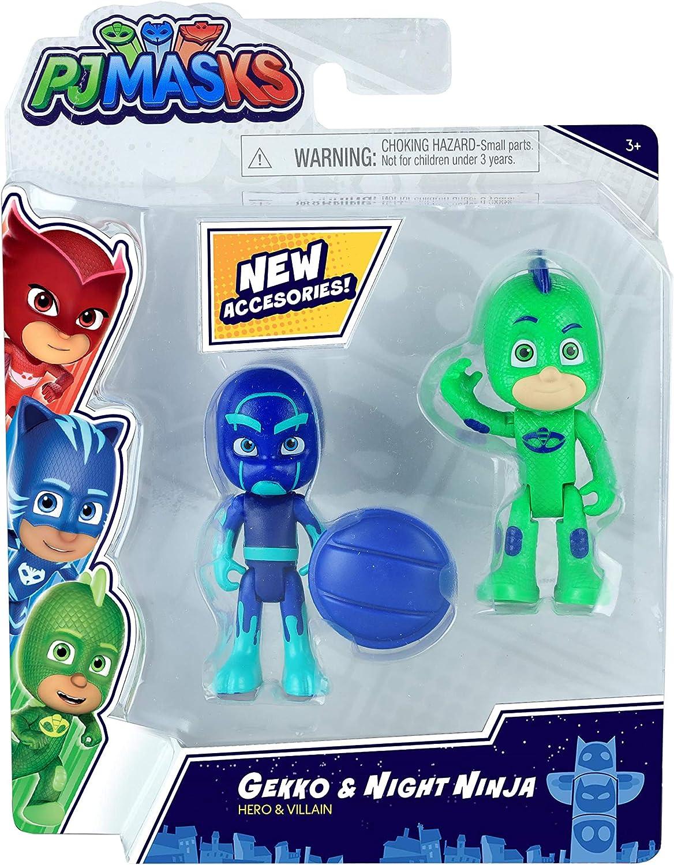 Pjmask, Pack de 2 muñecos de acción de 7,5 cm, Gekko & Night ninja, Juguete para niños a partir de 3 años, PJM652
