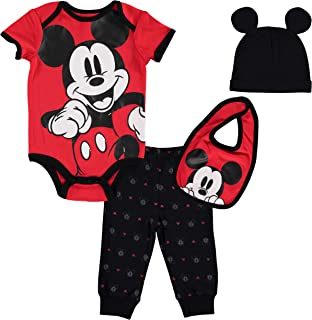 Mickey Mouse 4 Piece Layette Set: Short Sleeve Bodysuit...