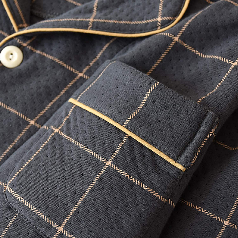 Men's Pajama Set Long Sleeve Sleepwear for Men black XL