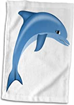 3D Rose Illustration of Blue Dolphin Sea Life Hand Towel, 15 x 22