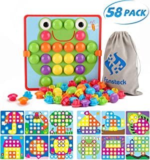 Fansteck Button Art Toy for Toddlers, Color Matching Early Learning Educational Mosaic Pegboard , Safe Nontoxic ABS Plastic Premium Material, 12 Pictures and 46 Buttons ,with a Bag Easy to Storag