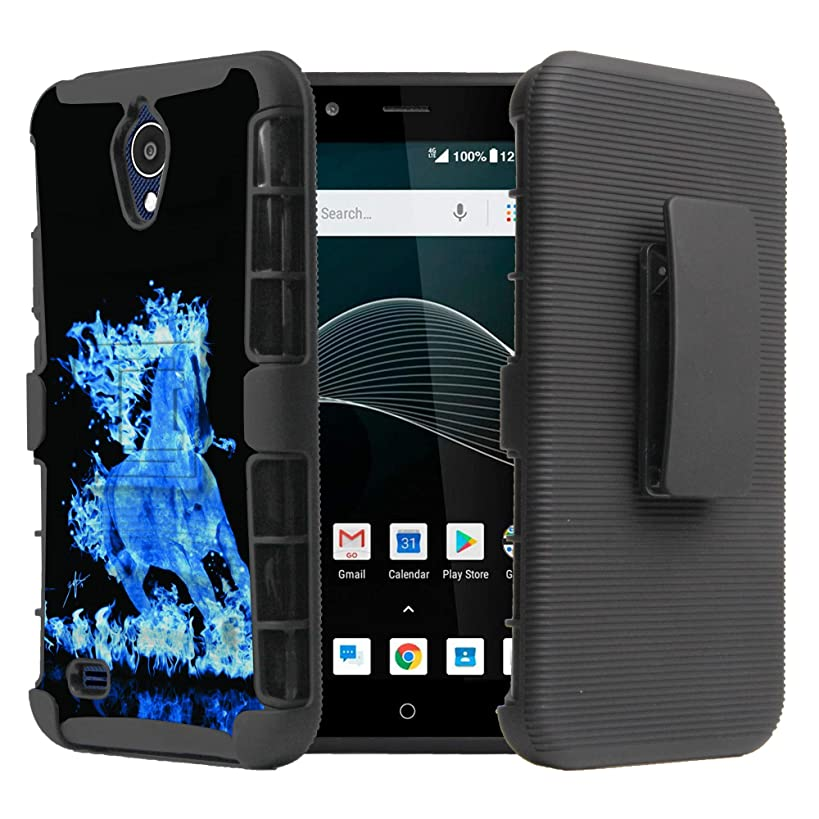 AT&T Axia QS5509A / Cricket Vision N5001 Case, DuroCase Hybrid Dual Layer Combat Armor Style Kickstand Case w/Holster - Blue Flaming Horse