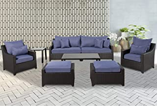 Cloud Mountain Patio Furniture Set 8 Pieces Outdoor Rattan Manual Wicker Conversation Set Sofa Club Chair with Washable Cushions and Coffee Table with Ottomans, Indigo Blue