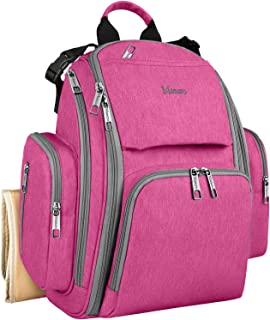 Diaper Bag Backpack for Mom, Baby Diaper Bags with Many Pockets, Waterproof Multi-Function Travel Back Pack with Changing Mat, Baby Shower Gifts for New Parents, New Mom, Pink