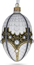 BestPysanky Mother Of Pearl on White Glass Egg Christmas Ornament