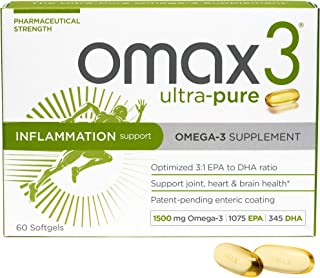 Omax3 Omega 3 Ultra Pure Fish Oil Supplements - 60 Softgels