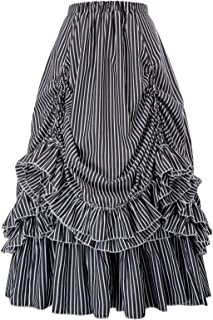 Women's Vintage Stripes Gothic Victorian Skirt Renaissance Style Falda